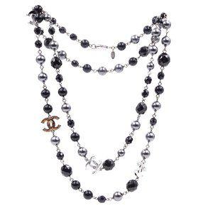 Chanel Ruthenium Black Grey Cc Bead Pearl Necklace